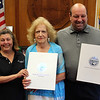 Lynn, Ma. 6-20-17. Judith Flanagan Kennedy, Estelle Revelotis, and City Councilor Brian LaPierrre, at the citation ceremony honoring Estelle Revelotis for dedication to the community and overall excellence.