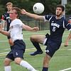 Lynnfield, Ma. 9-18-17. Jonathan Ludrs, left, and Davey Walters struggle for the ball.