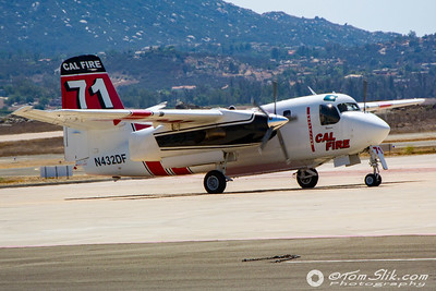 Cal Fire CDF Tanker 71, an S2T aircraft taxiing after a short flight