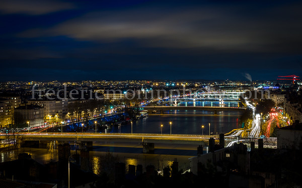 Bridges of Rhône at Lyon by night