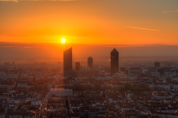Sunrise on the towers of Lyon