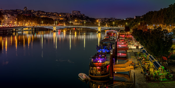 Banks of the Rhône in Lyon during the blue hour