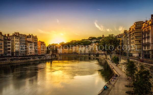 Coucher de soleil sur la Saône à Lyon