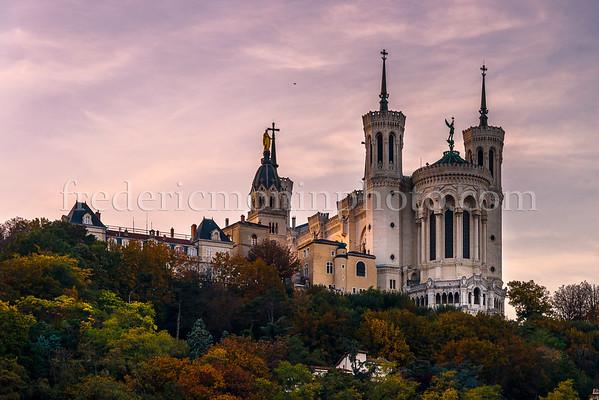 Autumn of the basilica of Fourvière at Lyon