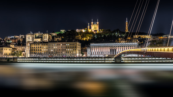 Saône in Lyon by night ...