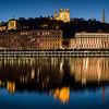 Heure bleue sur Fourvière à Lyon