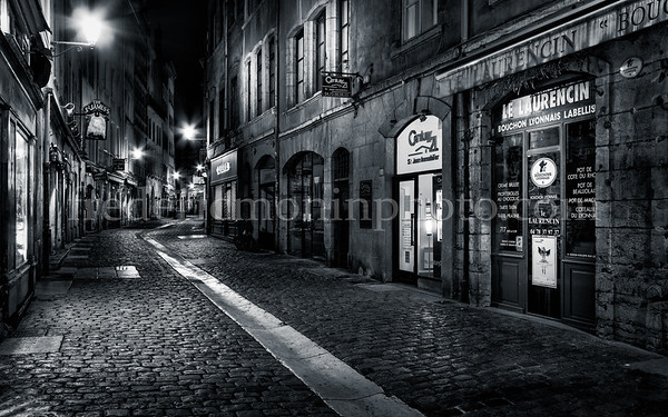 St-Jean street in the old Lyon in B/W ...