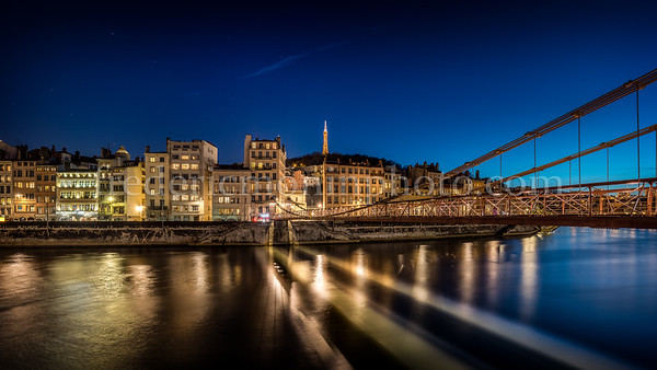 Blue Hour on the Saône at Lyon view from Feuillée bridge