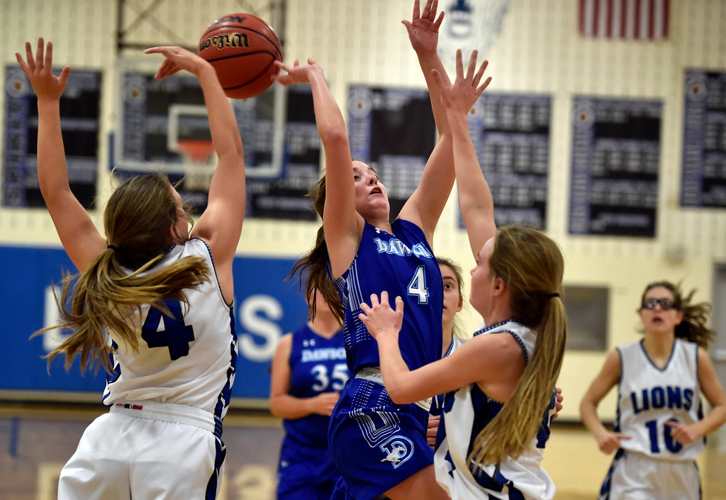 . LYONS, CO - JANUARY 29, 2019: Alexander Dawson\'s School\'s Kaitlyn Day gets her shot blocked by Avery Joy during a game against Lyons on Tuesday in Lyons. More photos: BoCoPreps.com(Photo by Jeremy Papasso/Staff Photographer)