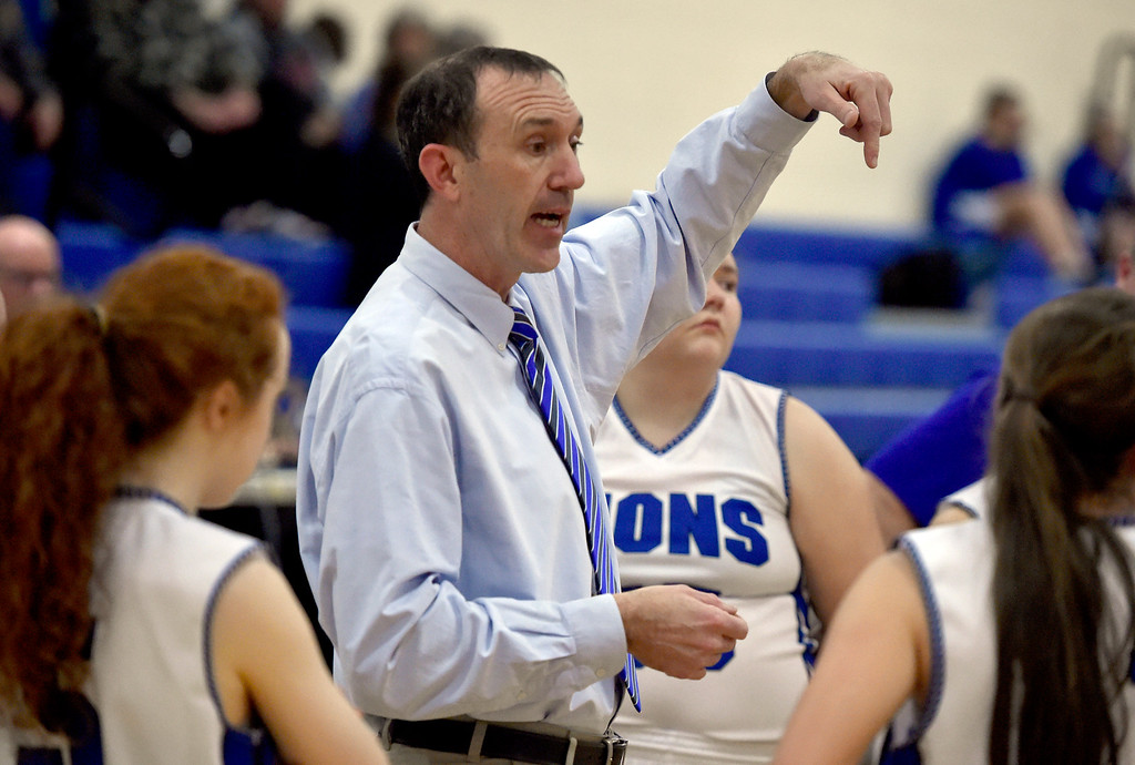 . LYONS, CO - JANUARY 29, 2019: Lyons High School Head Coach Marcus Richardson talked with his team  during a game against Dawson on Tuesday in Lyons. More photos: BoCoPreps.com(Photo by Jeremy Papasso/Staff Photographer)