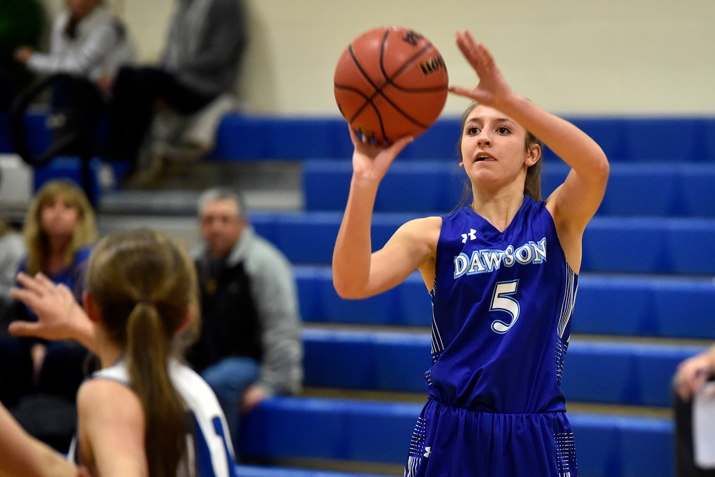 . LYONS, CO - JANUARY 29, 2019: Alexander Dawson\'s School\'s Alexis Gilio takes a shot during a game against Lyons on Tuesday in Lyons. More photos: BoCoPreps.com(Photo by Jeremy Papasso/Staff Photographer)