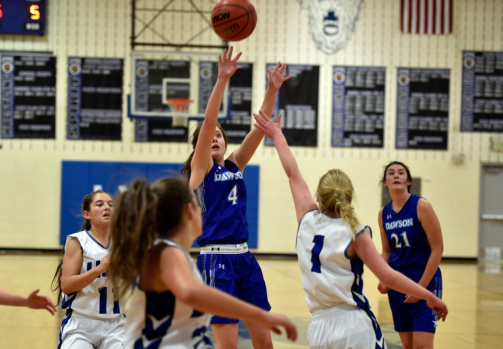 . LYONS, CO - JANUARY 29, 2019: Alexander Dawson\'s School\'s Kaitlyn Day takes a shot over Kylee Udovich during a game against Lyons on Tuesday in Lyons. More photos: BoCoPreps.com(Photo by Jeremy Papasso/Staff Photographer)