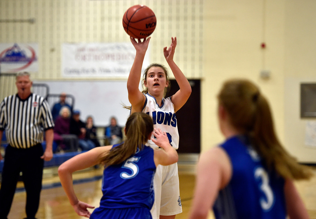 . LYONS, CO - JANUARY 29, 2019: Lyons High School\'s Mila Faubus takes a shot during a game against Dawson on Tuesday in Lyons. More photos: BoCoPreps.com(Photo by Jeremy Papasso/Staff Photographer)