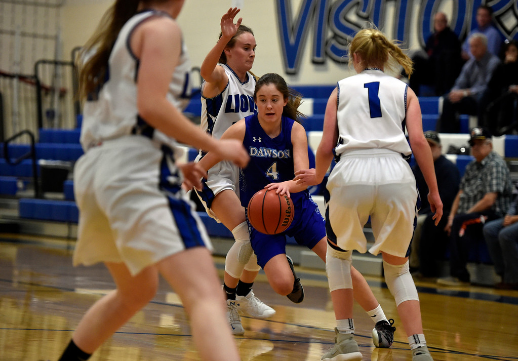 . LYONS, CO - JANUARY 29, 2019: Alexander Dawson\'s School\'s Kaitlyn Day dribbles past a swarm of defenders during a game against Lyons on Tuesday in Lyons. More photos: BoCoPreps.com(Photo by Jeremy Papasso/Staff Photographer)