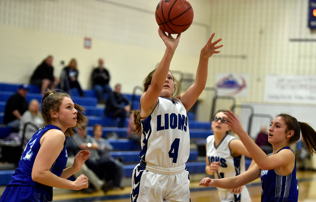 . LYONS, CO - JANUARY 29, 2019: Lyons High School\'s Avery Joy takes a shot during a game against Dawson on Tuesday in Lyons. More photos: BoCoPreps.com(Photo by Jeremy Papasso/Staff Photographer)