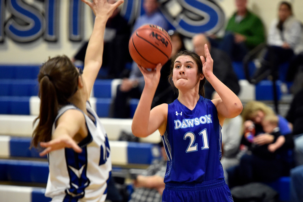 . LYONS, CO - JANUARY 29, 2019: Alexander Dawson\'s School\'s Maddy Timms takes a shot during a game against Lyons on Tuesday in Lyons. More photos: BoCoPreps.com(Photo by Jeremy Papasso/Staff Photographer)