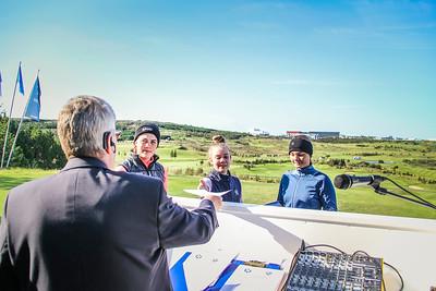 Hrafnhildur Guðjónsdóttir, Bjarney Ósk Harðardóttir og Alma Rún Ragnarsdóttir.  Íslandsmót golf 2019 Grafarholt - 1. keppnisdagur. Mynd: seth@golf.is