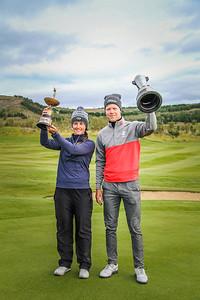 Guðrún Brá Björgvinsdóttir, GK og Guðmundur Ágúst Kristjánsson, GR.  Íslandsmótið í golfi 2019. Mynd/seth@golf.is