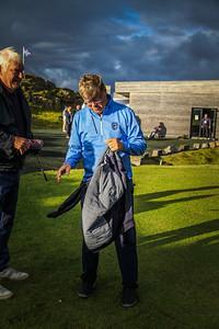 Georg Tryggvason og Haraldur Sverrisson, bæjarstjóri Mosfellsbæjar.  Íslandsmót í golfi 2020 - 1. keppnisdagur. Mynd/seth@golf.fis