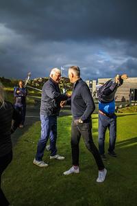 Georg Tryggvason einn af stofnendum Kjalar og Kári Tryggvason formaður GM.  Íslandsmót í golfi 2020 - 1. keppnisdagur. Mynd/seth@golf.fis