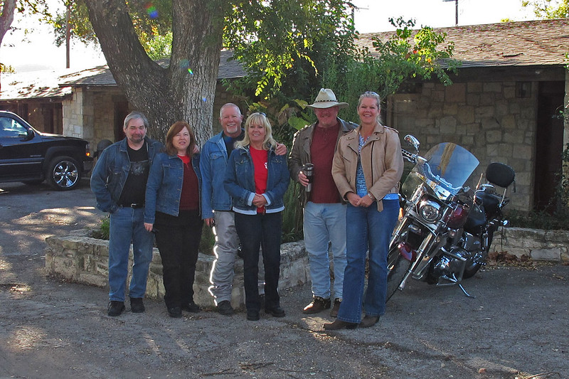 Mike, Pam, Mike, Marie, BJ, Angela at Frio Canyon Lodge, ready to load up for a full day of riding.