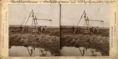 1900-1915  Gullfundurinn í Vatnsmýrinni í Reykjavík, gullborinn.