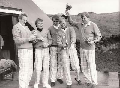 Sigursveit Keilis í Sveitakeppni GSÍ árið 1989. Frá vinstri: Tryggvi Traustason, Sveinn Sigurbergsson, Guðmundur Sveinbjörnsson, Úlfar Jónsson, Sveinbjörn Björnsson liðsstjóri.