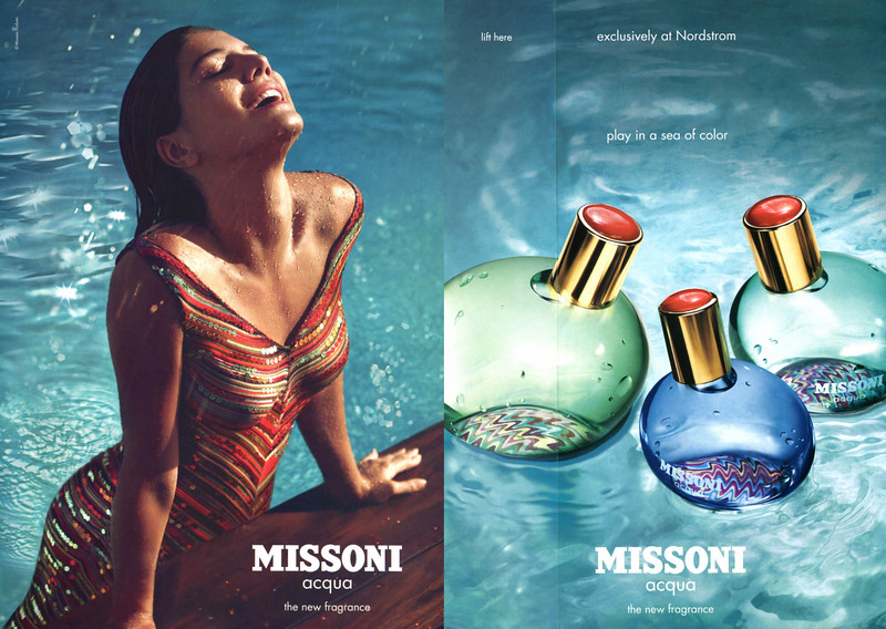 MISSONI Acqua 2007 US (Nordstrom stores) recto-verso with scent strip 'the new fragrance - play in a sea of color'