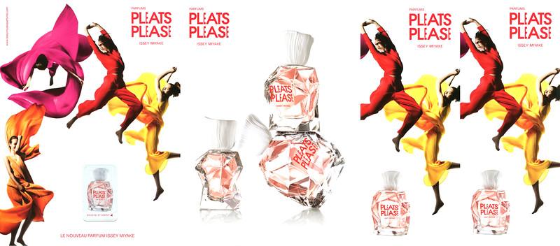 ISSEY MIYAKE Pleats Please 2012 Spain 4-page foldout <br /> (recto-verso with scent sticker + half page recto-verso) <br /> 'Soulevez et sentez - Le nouveau parfum'