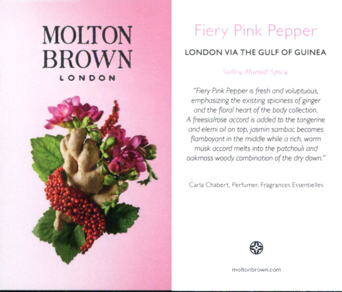 MOLTON BROWN Fiery Pik Pepper 2016 UK (recto-verso tester card 4 x 7 cm) 'London via The Gulf of Guinea - Sultry Humid - Spicy'