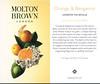 MOLTON BROWN Orange & Bergamot 2016 UK (recto-verso tester card 4 x 7 cm) 'London via Seville - Lively. Zesty. Unmistkable.'