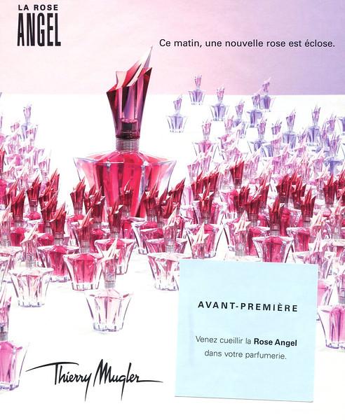 THIERRY MUGLER Angel La Rose 2006 France (single page with invitation card) 'Ce matin, une nouvelle rose est éclose - Avant-première'
