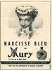MURY Le Narcise Bleu 1950 France small format 'L'un des sept meillleurs parfums du monde - chez tous les patfumeurs et grands magasins'