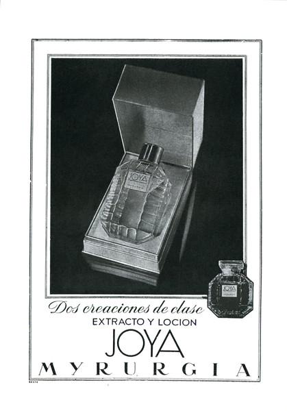 MYRURGIA Joya (Extracto y Loción) 1955 Spain (format 13 x 18 cm) 'Dos creaciones de clase'