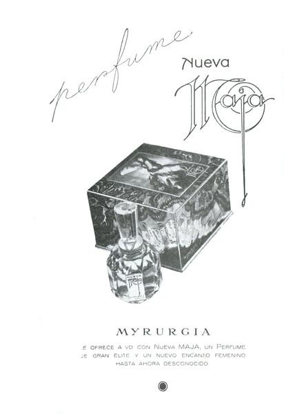 MYRURGIA Nueva Maja 1962 Spain (format 13 x 18 cm) 'Myrurgia le ofrece a Ud con Nueva Maja, un perfume de gran élite y un nuevo encanto femenino hasta ahora desconocido'