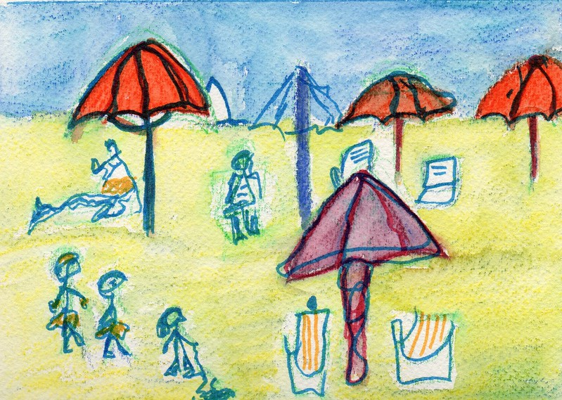"""Beach"" -- Artist: Michealyn Kvasnik - - - Medium: Watercolor Pencil"