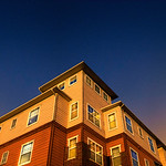 Dorm; Prairie Crossing; PC; windows; tall; looking up; up; sky; horizon; blue and gold; blue