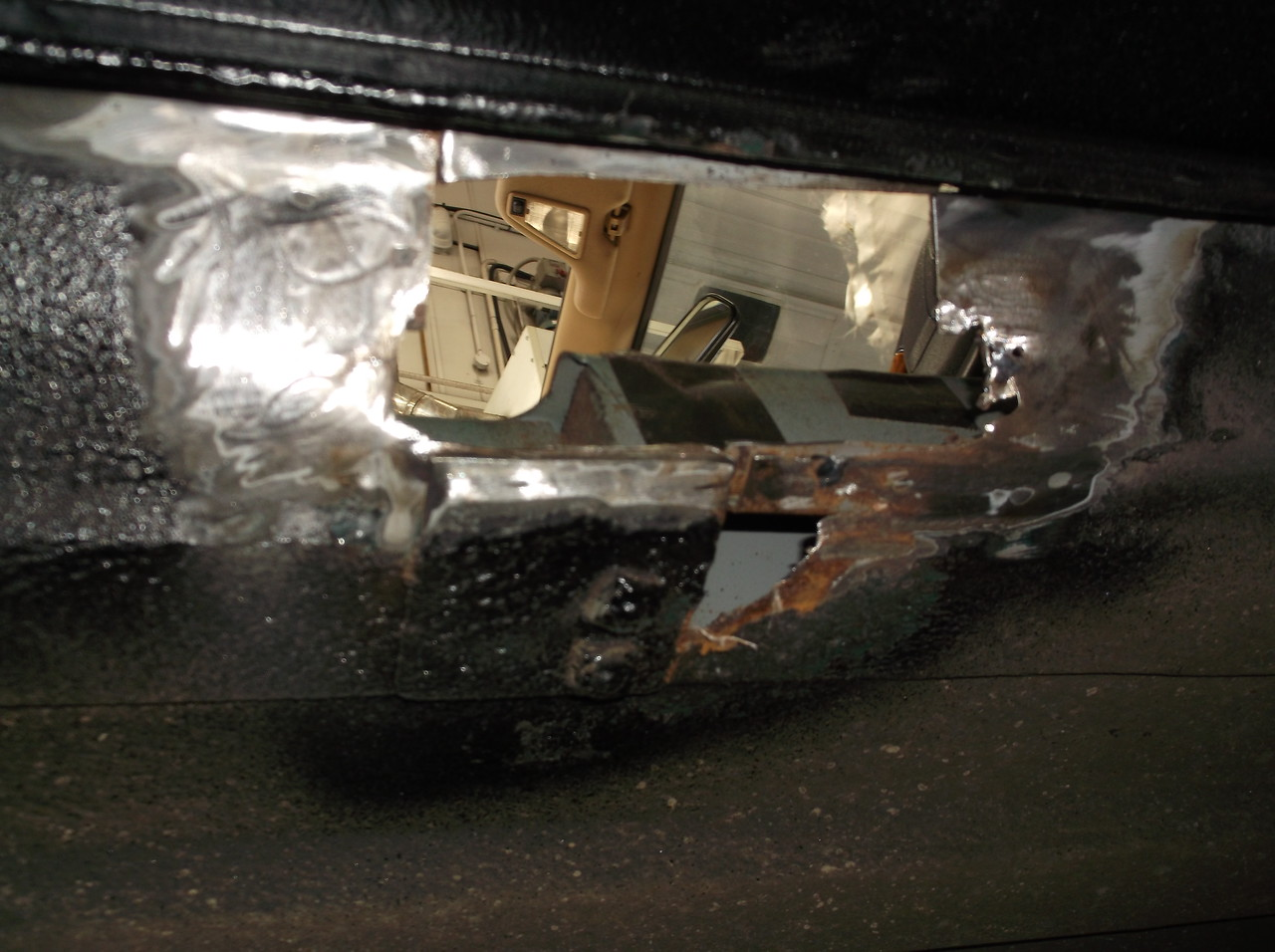 external seat belt mount rust damage cleaned