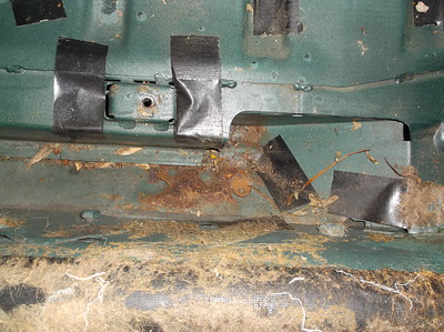 internal seat belt mount rust damage