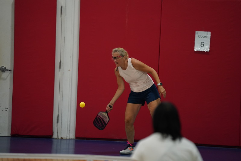 MA Sr Pickleball Tournament - Bev and Chris on Different Court    - 75