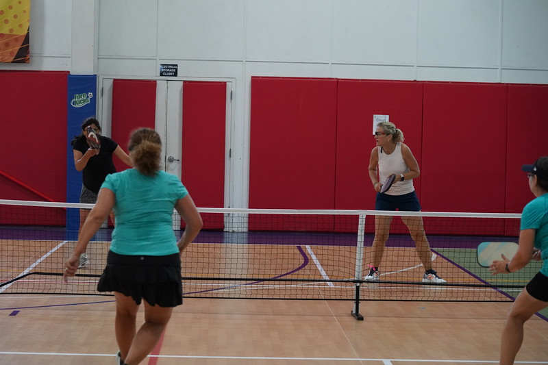 MA Sr Pickleball Tournament - Bev and Chris on Different Court    - 215