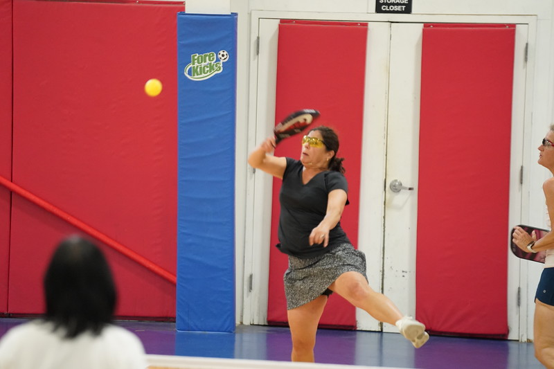 MA Sr Pickleball Tournament - Bev and Chris on Different Court    - 50