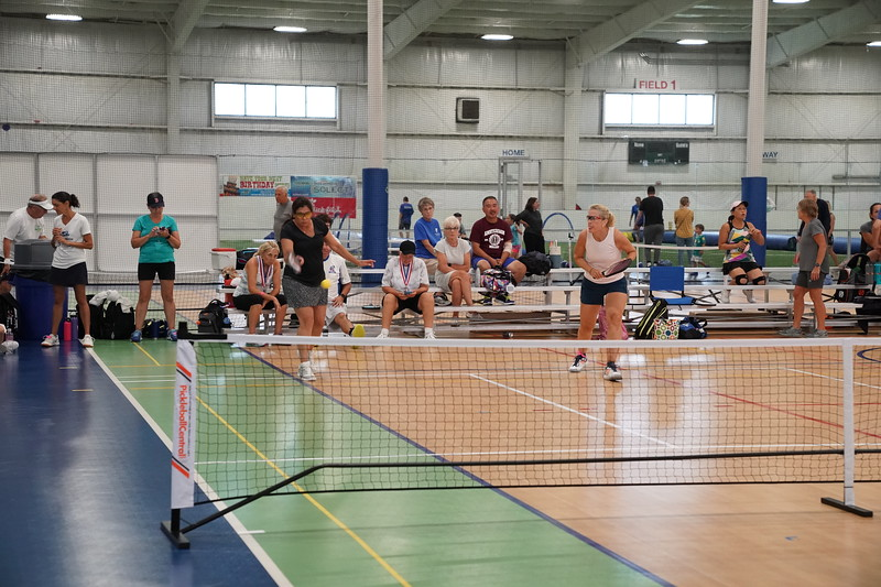 MA Sr Pickleball Tournament - Bev and Chris on Different Court    - 2