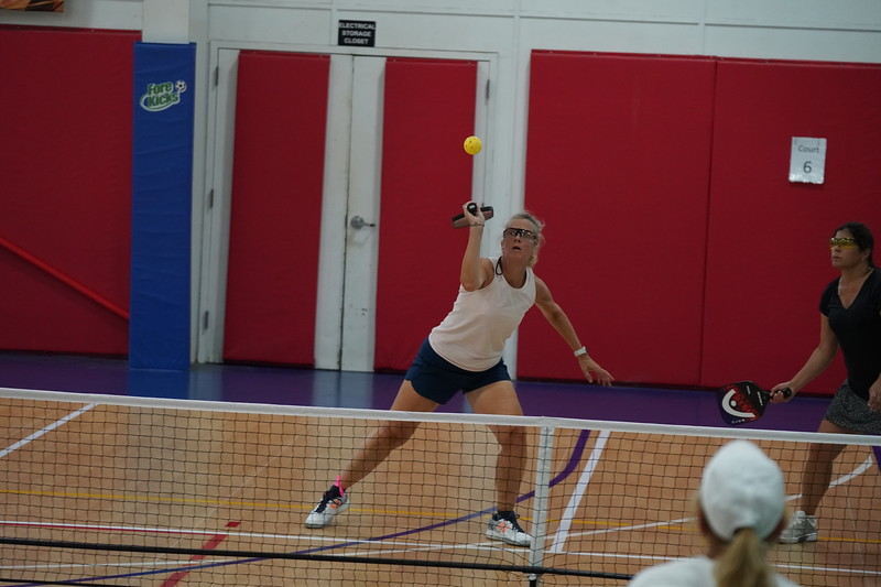 MA Sr Pickleball Tournament - Bev and Chris on Different Court    - 88