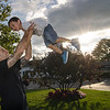 A group of Massachusetts State Police wives have made it their mission to cover Massachusetts in blue in support of all police officers. State Trooper Justin Burd, of Townsend, plays with four-year-old son Jyler during the event in Lunenburg on Wednesday evening.  SENTINEL & ENTERPRISE / Ashley Green