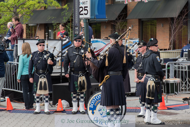 Boston Police Gaelic Column of Pipes and Drums performin at the Boston Run to Remember