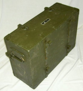 Here is an original CH-29 Accessory Chest for the WWII Signal Corps SCR-179 Horse/Mule pack radio set. It was made by the J. Beeber Co. of New York under Signal Corps Order No. 24346-PHILA-45-63 Serial No.39.. This chest is meant to hold most of the accessories for the set including the GN-37 hand crank generator, spare tubes, spare batteries, chest legs, antenna guy assembly & reel, IN-85 antenna insulator, tools, microphones & headset. This chest is very similar to the CH-39 chest that's used with the SCR-178 with the only difference being that the CH-29 has additional external hardware so it can be mounted to the pack animal frame. This chest is the companion to the CH-28/38 operating chest that holds the BC-186, BC-187, BC-188 & BX-4 Battery Box. The CH-29 is a scarce chest to find in any condition. This one was found in NOS condition in its original wooden crate. It does have some minor scratches/scrapes from having been sitting & moved around for over 60 years.