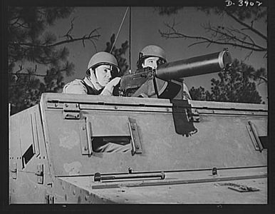 TITLE:  Fort Benning. Machine gunners, armored forces. Our armored forces have tremendous fire power. These machine gunners on a halftrac scout car make the .30 caliber Browning one of the most destructive of modern weapons<br /> <br /> LC-USE6-D-003902