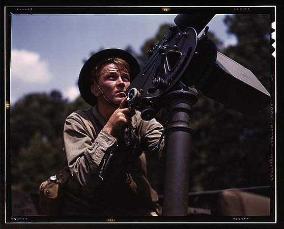 TITLE:  Good man, good gun: a private of the armored forces does some practice shooting with a 30-calibre Browning machine gun, Fort Knox, Ky.<br /> <br /> <br /> LC-USW36-169
