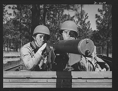 TITLE:  Fort Benning. Machine gunners, armored forces. Our armored forces have tremendous fire power. These machine gunners on a halftrac scout car make the .30 caliber Browning one of the most destructive of modern weapons<br /> <br /> <br />   LC-USE6- D-004011